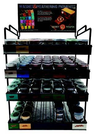Weathering Pigment: Pigment Rack (COMPLETE 6/ea pigment/fixer, +10 water/glass) [RETAIL ONLY]
