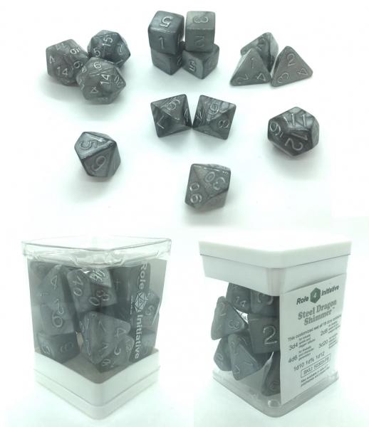 Polyhedral Dice Set: Steel Dragon Shimmer (15)