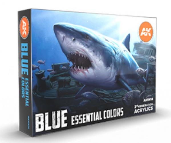 AK-Interactive: 3rd Gen Acrylics - Blue Essential Colors Set