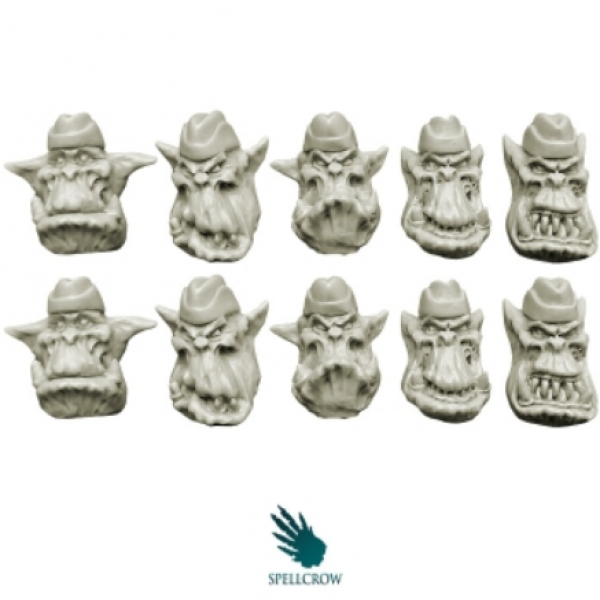 28mm Fantasy -Orcs: Orcs Heads in Side Caps (10)